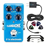 TC Electronic FlashBack 2 Delay and Looper Guitar Effect Pedal -INCLUDES- Blucoil 9V Replacement Power Supply and 4 Pack of Guitar Picks PLUS 2 Hosa 6 inch Molded Right-Angle Guitar Patch Cables