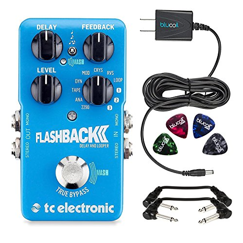 TC Electronic FlashBack 2 Delay and Looper Guitar Effect Pedal -INCLUDES- Blucoil 9V Replacement Power Supply and 4 Pack of Guitar Picks PLUS 2 Hosa 6 inch Molded Right-Angle Guitar Patch Cables by blucoil