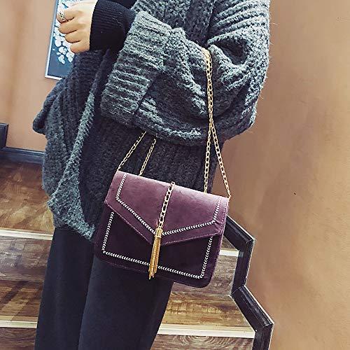 Bordado Mensajero Borla Del De Moda Mochila Mano Bandolera Bolso Salvaje Púrpura Bolsa Mujer Línea Familizo Bolsos x7AwqR7t
