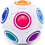 Toyzabo Challenging Puzzle Speed Cube Ball, Fun Fidget Toy Brain Teaser With 11 Rainbow Colors (1 Pack)