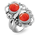 4.20ctw,Genuine Carnelian 8x8mm Round & .925 Silver Overlay Handmade Rings Made By Sterling Silver Jewellery