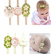 6 Pcs Cute Baby Girl Claer Crystal Pearls Flower Headband Soft Elastic Nylon HairBand Hair Ties For Toddler Gift