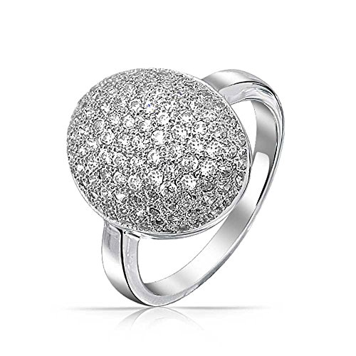 (Bling Jewelry Cubic Zirconia Oval Pave Dome AAA CZ Prom Pageant Statement Ring Silver Plated Brass for Women)