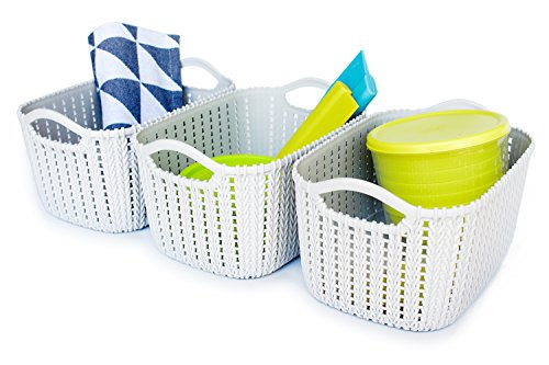 Weaving Rattan Plastic Storage Baskets/Bins Organizer with Handles,Set of 3,Gray,Honla