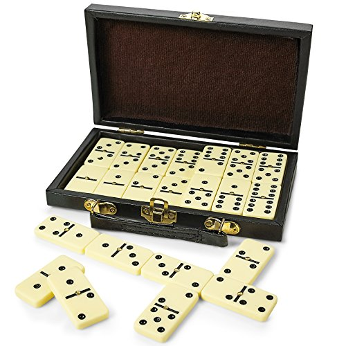 Domino Set - Premium Classic 28 Pieces Double Six In Durable Wooden Brown Box For Boys , Girls ,Party Favors And Anytime Use Up To 2-4 Players - By Kidsco