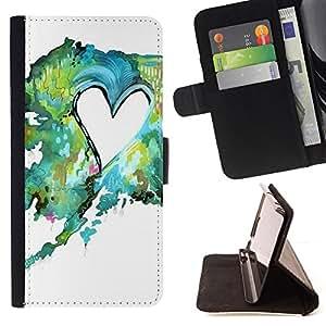 - Painting Watercolor Teal Green Love - - Prima caja de la PU billetera de cuero con ranuras para tarjetas, efectivo desmontable correa para l Funny HouseFOR HTC Desire 820