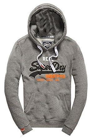 SuperDry Herren Vintage Logo Hoodie Orange Label Kapuzenpullover Pullover ( XL, Grau   Orange Logo 13467fe4f7