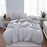 LIFETOWN Jersey Knit Cotton 3 Pieces Duvet Cover Set Ultra Soft Striped Bedding Set 1 Duvet Cover and 2 Pillowcases (Full/Queen, Off White/Black Stripes)