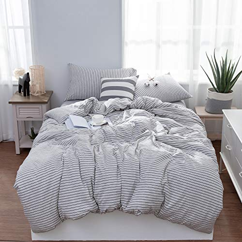 LIFETOWN Jersey Knit Cotton 3 Pieces Duvet Cover Set Ultra Soft Striped Bedding Set 1 Duvet Cover and 2 Pillowcases (Full/Queen, Grayish White) (And Striped White Bed Set Black)