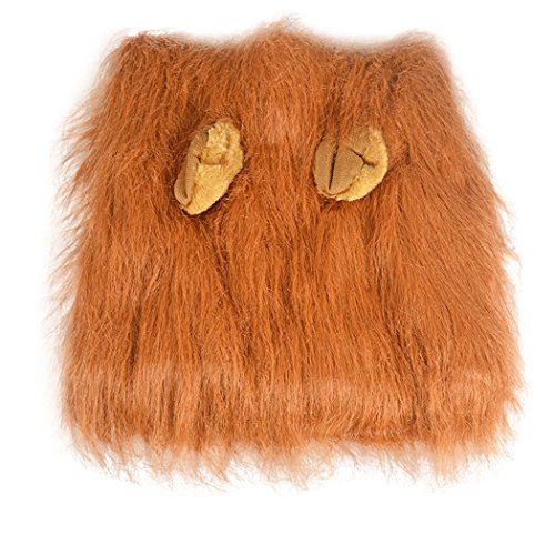 Real Spark(TM) Dog Wigs Lion Mane Furry Hair Festival Party Pet Dress Up Costume With Ears For Medium Dogs Light Brown