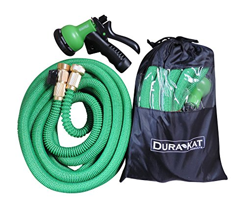 (Durakat Products Lightweight 50 ft Expandable Garden Hose with 8 position spray nozzle-Heavy duty brass water shut off valve and fittings-auto expanding no kink hoses in nylon bag-shrinks for easy use)