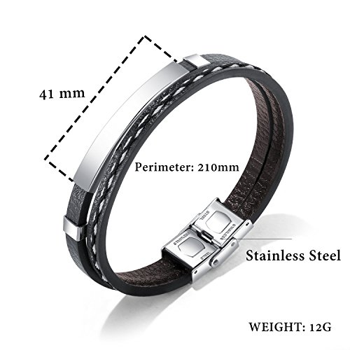 GAGAFEEL Leather Bracelet Braided Rope Cuff Custom Engraved Message Stainless Steel Bangle Unisex Gift (Engraving-Steel) by GAGAFEEL (Image #2)