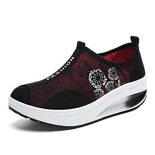 Enllerviid Women Shape On up Mesh Walking Shoes Slip On Shape Platform Fitness Toning Sneakers B074GTR1TD Shoes 0d0374