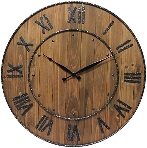 Infinity Instruments Aged Barrel Indoor Rustic Wall Clock, 23 inches Round