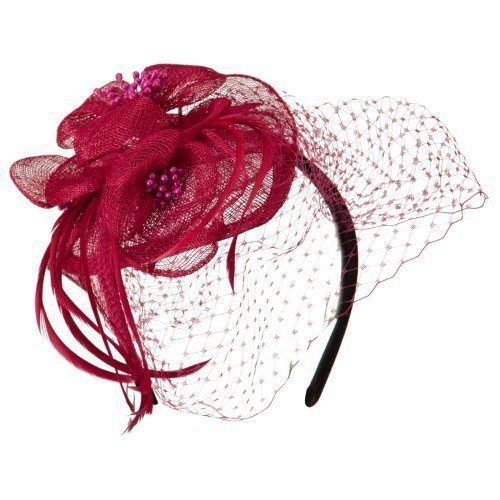 Sinamay Tear Drop Cocktail Hat - Fuchsia OSFM ()