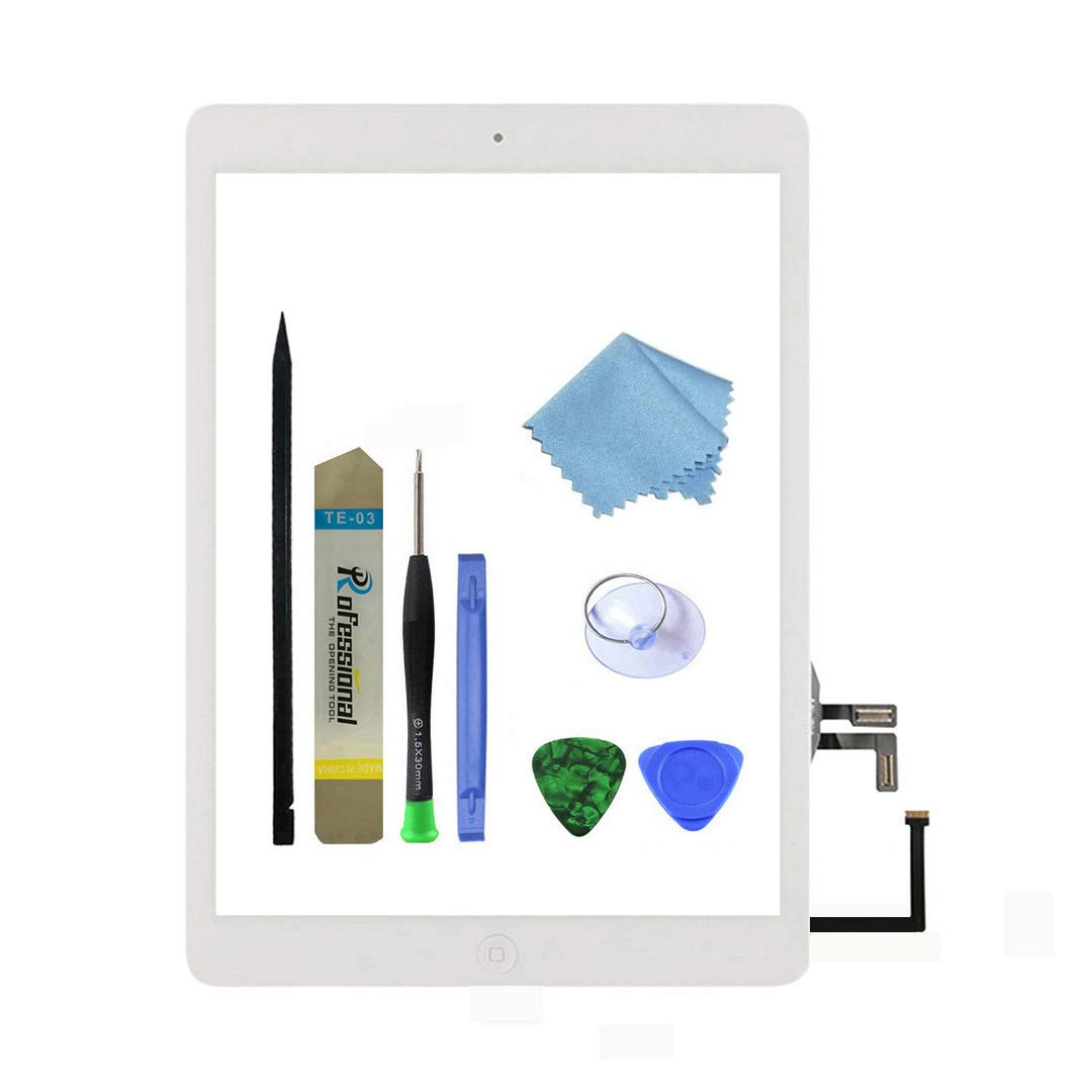 Zentop White IPad Air 1st Generation Touch Screen Digitizer Glass Replacement Modle A1474 A1475 A1476 with Home Button,Camera Holder,Preinstalled Adhesive,Tool Kit.