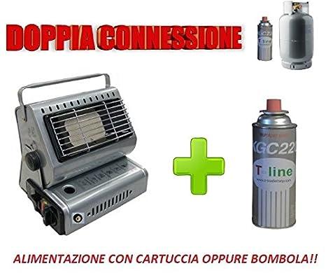 Estufa de gas portátil de doble casquillo, GPL/Butano + incluye 1 cartucho: Amazon.es: Hogar
