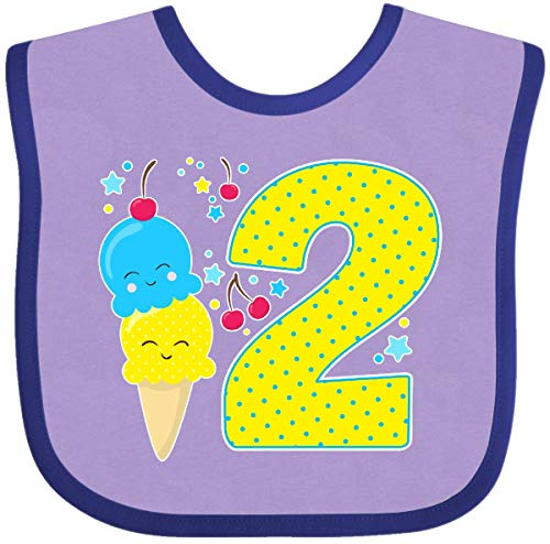 (Inktastic - Ice Cream second birthday blue Baby Bib Lavender and Purple 2f6e8)