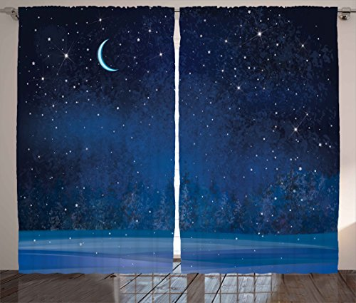 Ambesonne Moon Decor Curtains, Mystic Winter Wonderland with Starry Sky Dark Night Magical Forest Landscape, Living Room Bedroom Window Drapes 2 Panel Set, 108 W X 84 L Inches, Dark (Winter Wonderland Backdrop Ideas)