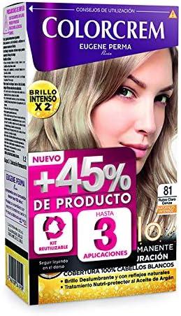 Colorcrem - Tinte permanente mujer - tono 81 Rubio Claro Ceniza, con tratamiento nutri-protector al aceite de Argán. + 45% de producto | Disponibile ...