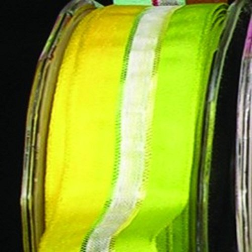 Green and Yellow Narrow Taffeta with Sheer White Stripe Wired Craft Ribbon 22mm x 108 Yards