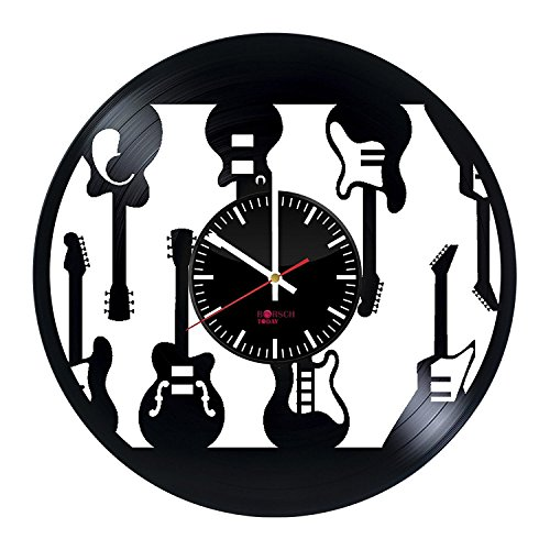 Electric Guitars Design Handmade Vinyl Record Wall Clock - Get unique home room wall decor - Gift ideas for men and women – Musical Instruments Unique Modern Art