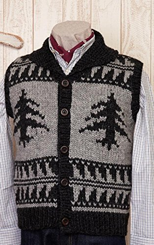 Tree pattern men's cowling vest by Hamanaka