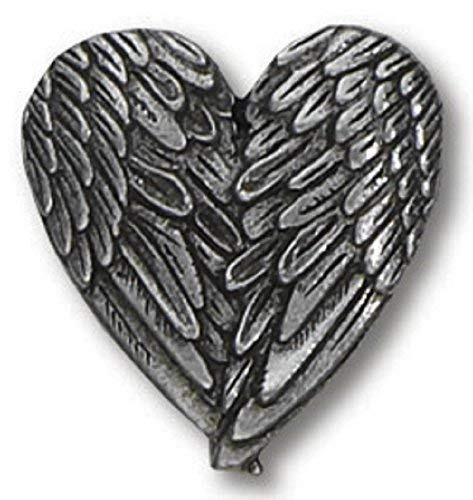 H. J. Sherman Angel Heart Wings Lapel Pin Genuine Pewter Silver Tone