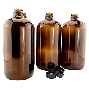 32-Ounce Amber Kombucha Growler Bottles (4-Pack); 1 Quart Boston Round Glass Bottles w/ 6 Polycone Phenolic Lids for Home Brewing