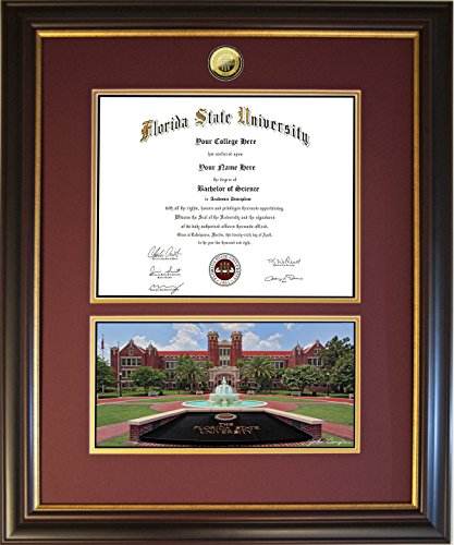 Diploma Frame for Florida State University - Westcott with Monument, Solid Bronze Medallion