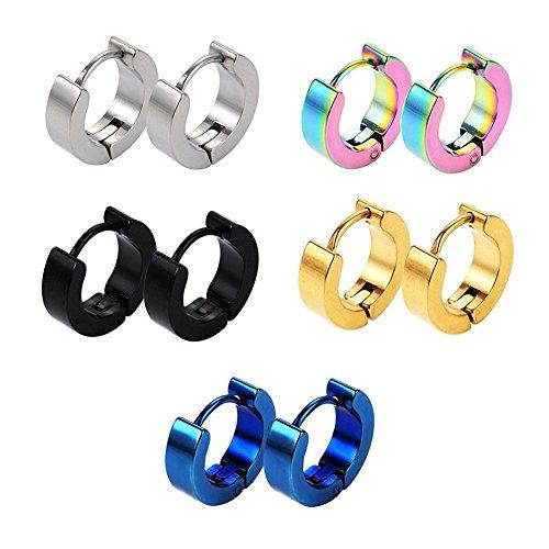 5 Pairs Stainless Steel Small Hoop Earrings Piercing Hypoallergenic Huggie Earrings For Men Or Women (B:Five Pairs(5 Colors))