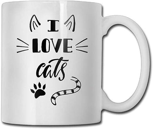 Taza de cerámica Amo los gatos Tazas de café personalizadas/Taza ...