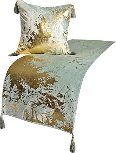 The HomeCentric Vert Coureur de Lit, 45 45 45 x 133 cm Con funda de almohada Designer Twin Écharpe de Lit Vert Velours Glands - Gold Splashed Floral 3b7ff2