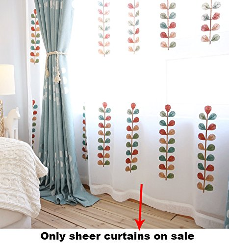 Panel 84l (ASide BSide Rod Pocket Top Leisure Type Permeable Window Decoration Sheer Curtains Multicolored Petals Embroidered For Sitting Room Houseroom and Kitchen (1 Panel, W 52 x L 84 inch, White))