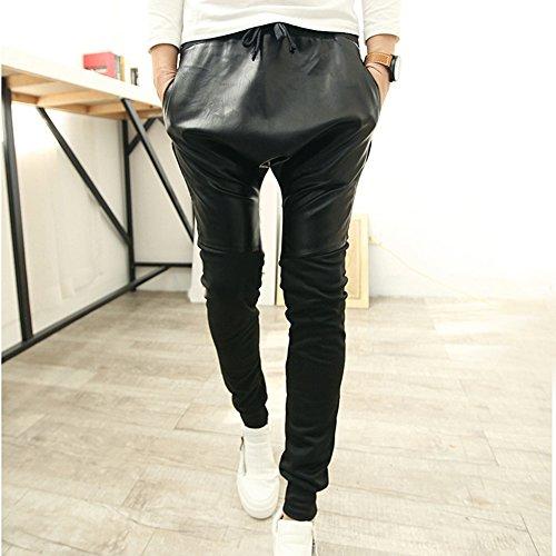 PS Men Tide Sports Leather Patchwork Drop Crotch Hip-hop Harem Pants Black Asia L