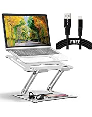 Adjustable Laptop Stand Oli & Ode Table Stand Portable Ergonomic Notebook Stand with Heat-Vent, Heavy Duty Laptop Holder Compatible with MacBook Pro/Air, Dell, HP, with 2 Meter Mfi Cable