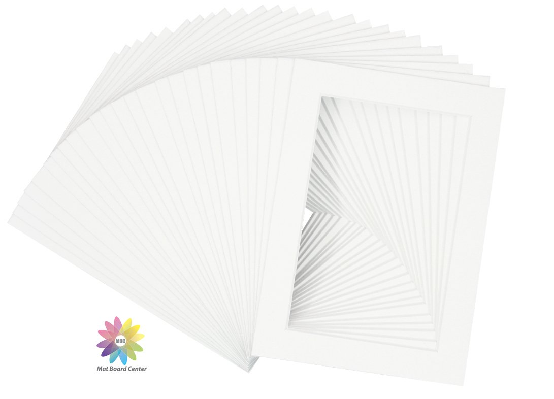 Mat Board Center Pack Of 25 5x7 White Picture Mats With