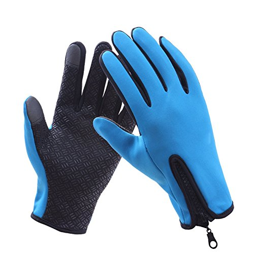 T-JULY Winter Warm Biking Gloves Outdoor Cycling Gloves For Men And Women Full Finger Mountaineering Gloves Blue
