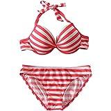 Qiaoer Push up Padded Bra Bright Stripe Bikini Set Boy-Leg 4 piece Swimsuit