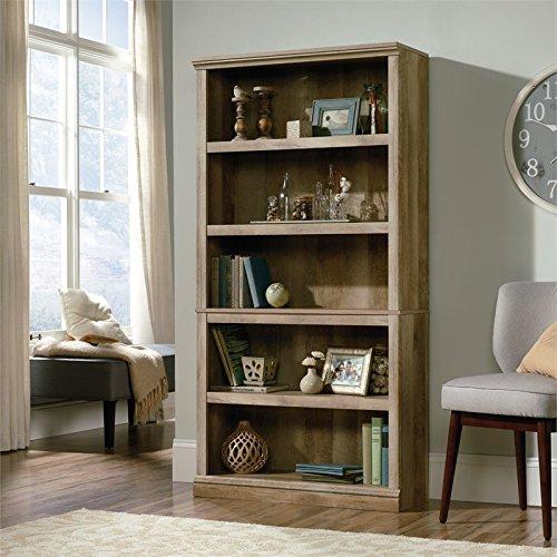 Sauder 420174 5-Shelf Bookcase, L: 35.28'' x W: 13.23'' x H: 69.76'', Lintel Oak finish by Sauder