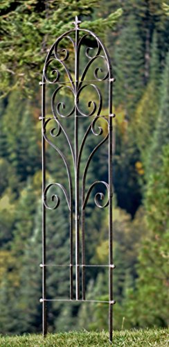 H Potter Italian Iron Garden Trellis - Durable, Elegant Metal Trellis Lawn Decor with Powder Coat Finish - Hand Cut, Heavy Scroll Iron, Easy to Stake, Some Assembly, All Weather - Iron Coat Powder