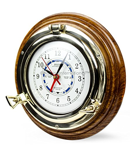 (Nagina International Brass Porthole Solid Wood Base Time's Clock with Tide Dial)