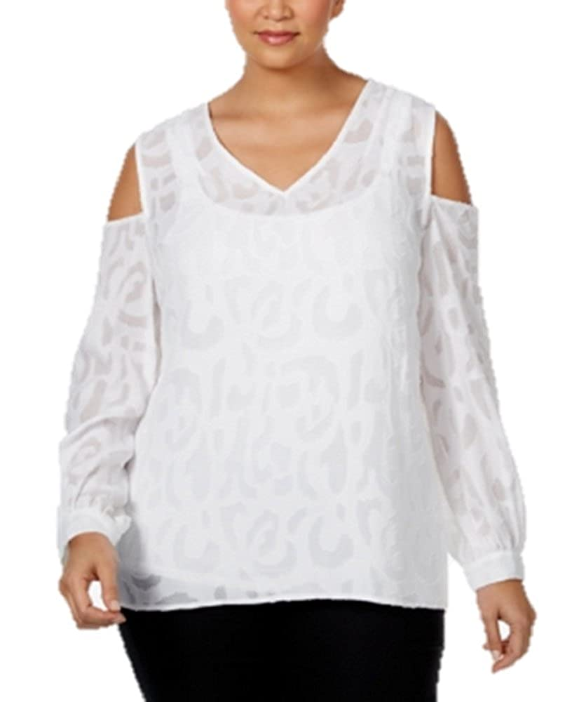 2ed483837b9a37 Alfani Plus Size Top 24W Jacquard Knit Cold Shoulder Blouse White at Amazon  Women s Clothing store