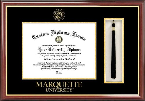 Laminated Visuals Marquette University Golden Eagles - Embossed Seal - Tassel Box - Mahogany - Diploma Frame ()