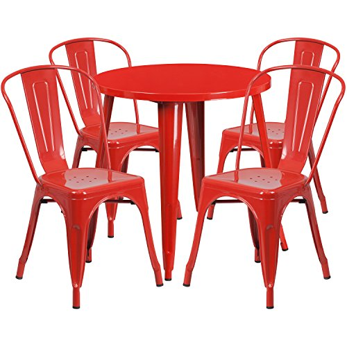 Flash Furniture 30'' Round Red Metal Indoor-Outdoor Table Set with 4 Cafe Chairs by Flash Furniture