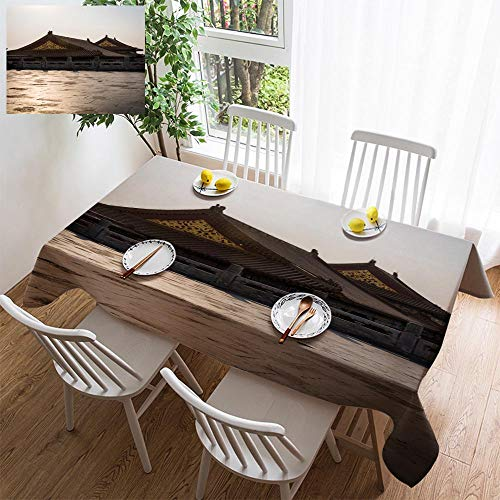 HOOMORE Simple Color Cotton Linen Tablecloth,Washable, Forbidden City Chinese Imperial Palace Beijing China Decorating Restaurant - Kitchen School Coffee Shop Rectangular 54×35in ()