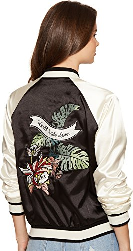Lovers+Friends Women's Los Angeles Bomber Black/White Outerwear by Lovers+Friends (Image #2)