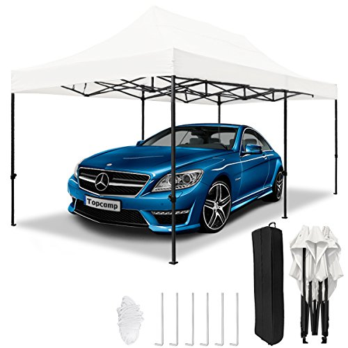 TopCamp Pop up Canopy 10 x 20 EZ, Heavy Duty Tent Waterproof Outdoor Party Commercial Canopies Tents with Wheeled Carry Bag (White 10x20 ()