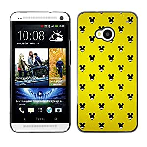 [Neutron-Star] Snap-on Series Teléfono Carcasa Funda Case Caso para HTC One M7 [Ratón Negro Grande Orejas Mujer Wallpaper Pin Up]