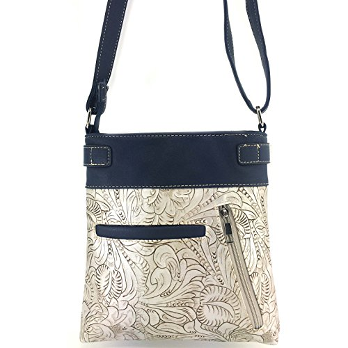 Justin Sugar Slot Roses Crossbody Concealed Skull Bag Handbag Silver with Tooled Carry Phone Messenger Cut Laser and Purse Winged West SqwngrtWAS